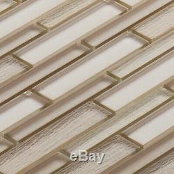 Beige Cream Cold Spray Crystal Glass Linear Mosaic Tile Kitchen Wall Backsplash