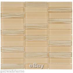 Beige Cream Crystal Glass Mosaic Tile Cold Spray Matte Stacked Wall Backsplash