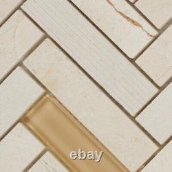 Beige Cream Stone Mosaic Tile Texture Crystal Glass Herringbone Wall Backsplash