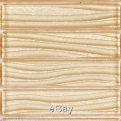 Beige Cream Wave Metallic Cold Spray Mosaic Tile Stacked Kitchen Wall Backsplash
