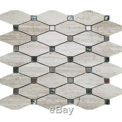 Beige Elongated Octagon Glass Stone Metal Mosaic Tile Kitchen Wall Backsplash