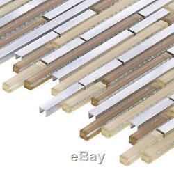 Beige Glass Metallic Aluminum Linear Glass Mosaic Tile Kitchen Wall Backsplash