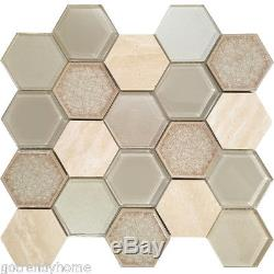 Beige Green Hexagon Glass Stone Mosaic Tile Kitchen Shower Wall Backsplash