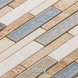 Beige Sand Cream Marble Stone Crackle Glass Mosaic Tile Kitchen Wall Backsplash