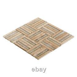 Beige Sand Travertine Marble Stone Gold Sand Glass Mosaic Tile Wall Backsplash