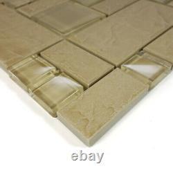 Beige Stone Glass Blend Pattern Mosaic Tile Kitchen Backsplash Wall Sink Spa