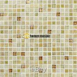 Beige color stone mixed glass mosaic tiles kitchen backsplash bathroom wall tile