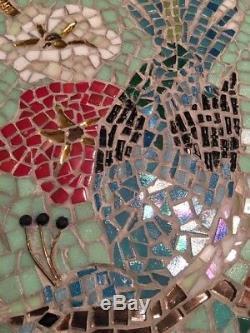 Bird and Flower Mosaic Glass Tile Wall Art Home Decor 12x16
