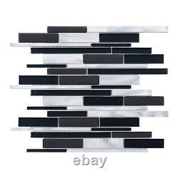 Black Aluminum Metal Metallic Crystal Glass Blended Mosaic Tile Wall Backsplash