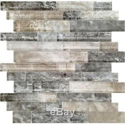 Black Brown Grey Interlocking Pattern Glass Mosaic Tile Kitchen Wall Backsplash