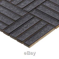 Black Crackle Glass Basketweave Parquet Mosaic Tile Kitchen Bath Wall Backsplash