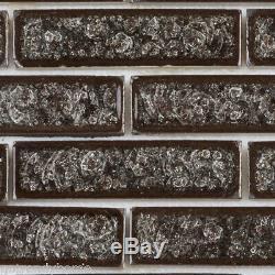 Black Crackle Glass Mosaic Tile Brick Joint Kitchen Shower Wall Backsplash