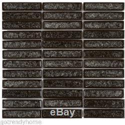 Black Crackled Glass Mosaic Tile Stacked Pattern Kitchen Shower Wall Backsplash