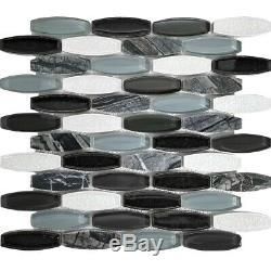 Black Grey White Pattern Glass Stone Mosaic Tile Kitchen Shower Wall Backsplash