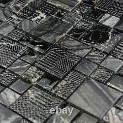 Black Marble Pattern Crystal Glass Kitchen Bathroom Wall Mosaic Tile Backsplash