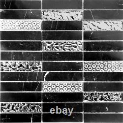Black Marquina Marble Blended Metallic Silver Glass Mosaic Tile Wall Backsplash