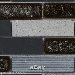 Black Marquina Marble Mosaic Tile Crackle Glass Brick Joint Wall Backsplash