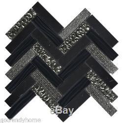 Black Marquina Marble Mosaic Tile Deco Insert Glass Herringbone Wall Backsplash
