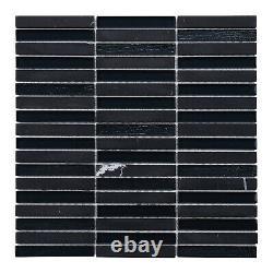Black Marquino Stone Marble Glass Stacked Mosaic Tile Kitchen Wall Backsplash