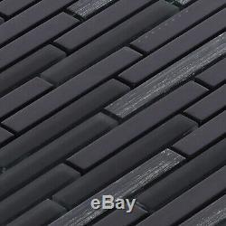 Black Modern Metallic Glass Brick Joint Mosaic Tile Kitchen Bath Wall Backsplash