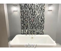 Black Silver Color Glass Tiles Backsplash Home Bathroom Accent Wall Pack of 10