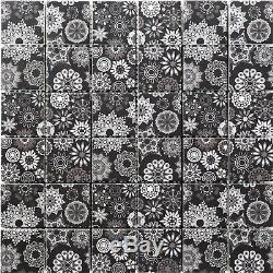 Black White Square Glass Tiles Back Splash Wall Tiles for Kitchen Bath Bar Spa