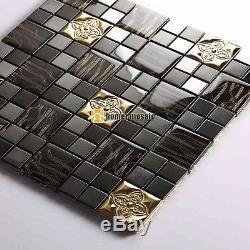 Black glass mixed metal tiles kitchen backsplash bathroom wall mosaic HMB1452