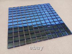 Blue Glass Mosaic Tile Sheets Splash Back Wall Floor 25mm Tiles Square Bathroom