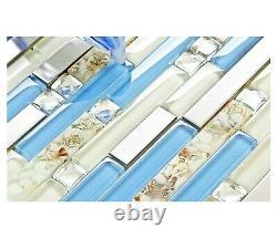 Blue Glass Tile 10 sheets Seashell Inlayed Bath Accent Wall Kitchen Backsplash