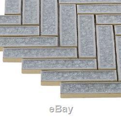 Blue Gray Crackle Glass Herringbone Mosaic Tile Kitchen Wall Bath Backsplash