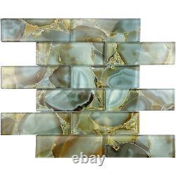 Blue Marble 2x6 Glass Subway Taupe Kitchen Bathroom Wall Mosaic Tile Backsplash