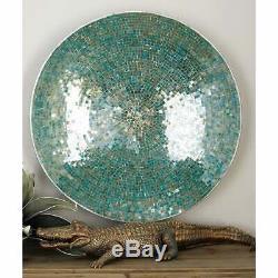 Blue Metal Mosaic Tile Wall Platter Blue