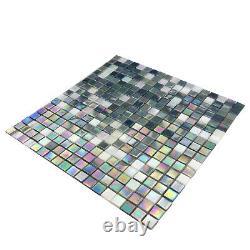Blue Pearl Ice Glass Iridescent Blend Kitchen Bath Mosaic Tile Backsplash Wall