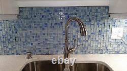 Blue Skies Blue and White Hand Painted 1x1 Glass Mosaic Tiles Backsplash