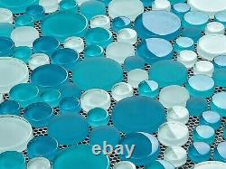 Box of 10 Glass Tiles (10 SQ FT) Bubble Rounds in Coastal Blue, Green, White