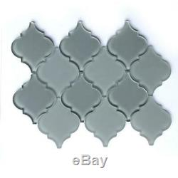 Box of 10 Glass Tiles (7.1 SQ FT) Arabesque Lanterns in Coastal Gray Glass