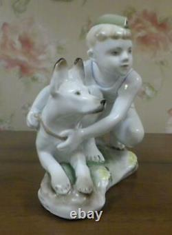 Boy with dog young border guard USSR russian porcelain figurine Lomonosov 4013u
