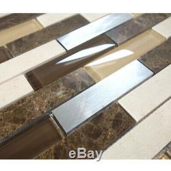 Brown Beige Emperador Marble Blended Aluminum Glass Mosaic Tile Wall Backsplash