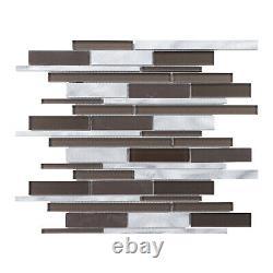 Brown Crystal Glass Aluminum Metallic Metal Blended Mosaic Tile Wall Backsplash