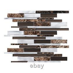 Brown Emperador Marble Aluminum Metallic Metal Glass Mosaic Tile Wall Backsplash