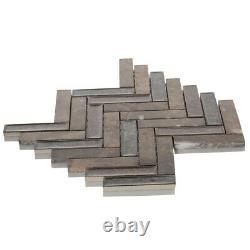 Brown Marble Stone Mosaic Tile Crackle Glass Herringbone Kitchen Wall Backsplash