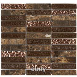 Brown Marble Stone Mosaic Tile Rose Gold Glass Stacked Kitchen Wall Backsplash