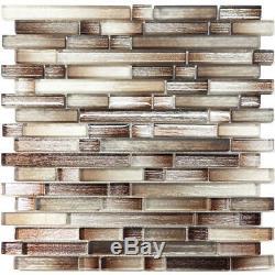 Brown Silver Brushed Metallic Glass Mosaic Tile Kitchen Wall Backsplash