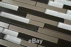Brushed & Black Stainless Steel Metal White Glass Mosaic Backsplash Wall Tile