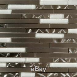 Brushed Swirl Stainless Steel Metal Mix White Glass Mosaic Backsplash Wall Tile