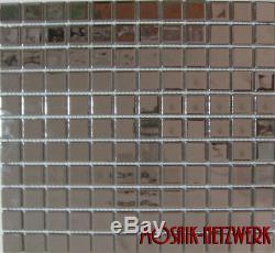 CHROM OPTIc SILVER Mosaic tile GLASS Square Wall KITCHEN BATH 60-020610sheet