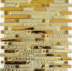 CLEAR/GOLD MIX BRICK Translucent Mosaic tile GLASS Wall Bath -86-0107 10 sheet
