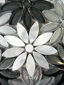 Calacatta White/Gray 12x12 Glass & Marble Stone Flower Mosaic Wall/Floor Tile