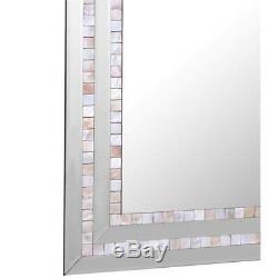 Camden Isle Double Mosaic Tiled Frame Wall Mirror with Beveled Glass