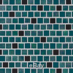 Carribean Mermaid 1x1x4mm Green Blue Glass Mosaics Tile Backsplash Wall